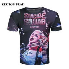 Harley Quinn Joker T-shirts 3d Men T shirts Suicide Squade Funny Summer Movie Cool T shirt Skateboard Camisetas 2017 ZOOTOP BEAR(China)