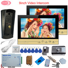 "9"" Color LCD Screen Video Door Phone Intercom System Night Vision Metal Waterproof Camera System Unit Rfid Cards Electronic Lock(China)"