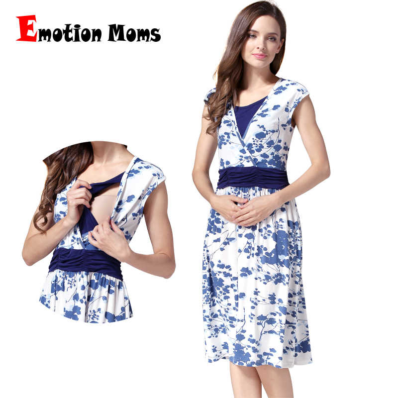 88447fa5787d Emotion Moms Летняя одежда для беременных, платье для кормящих мам, одежда  для кормящих
