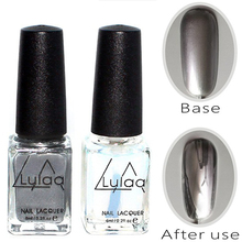 2pc Silver Mirror Effect fashion Metal Nail Polish Varnish Top Coat Metallic Nails Art Tips nail polish set AS143