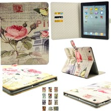 10 Retro Patterns Flip Case For Apple iPad 2 Case For Ipad 3 IPad 4 Fashion Flower Book Stand Girls Tablet Cover Cases 9.7 Inch(China)