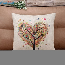 Ouneed Happy Gifts 45 x 45cm Pillow Case Pillow Cover Living Room Sofe Good Quality Burlap Square Pillowslip Tree