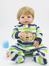 55cm Full body silicone reborn boy babies dolls toy handsome newborn baby doll reborn child kid birthday gift girls brinquedos(China)