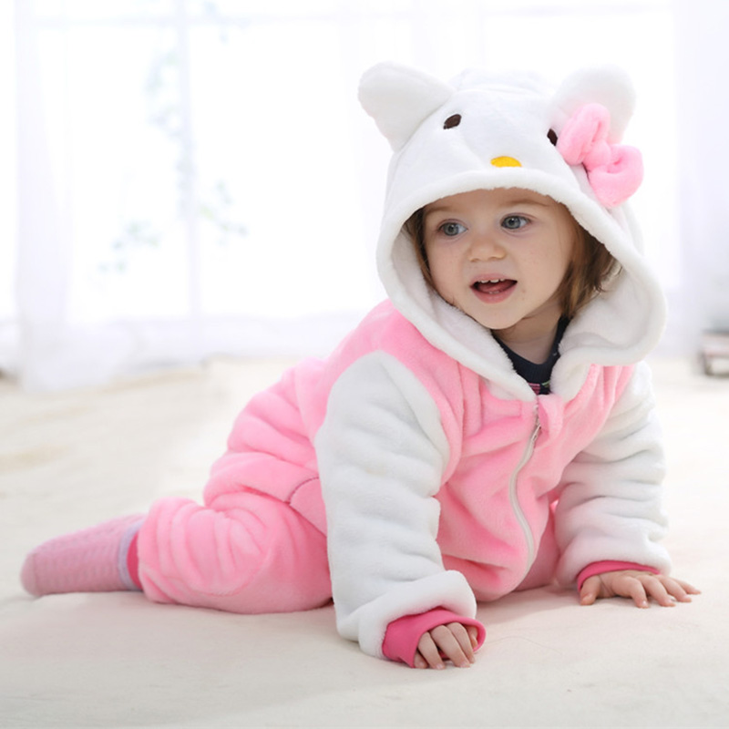 2017 Toddler Cartoon Flannel Front Zipper Romper Baby Girls Boys Winter Warm Romper Rabbit Fog Lion Cat Pattern Jumpsuit 232<br><br>Aliexpress