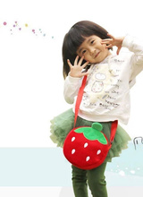 SIZE 22*16CM CUTE Kid's Strawberry Plush Backpack , Baby Kid's Kindergarten Satchel Messenger BAG Plush Backpack