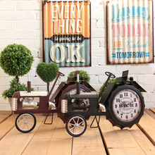 EuropeStyle classical retro Tractor Model Table Clock Living Room Ornament Bell Home Decor Artware Creative Electronic Clock