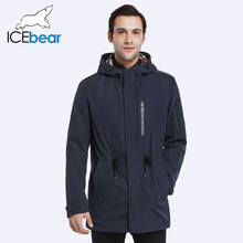 ICEbear 2017 Trench Coat For Men Adjustable Waist Hat Detachable Spring Autumn Men New Casual Medium Long Jacket Coat 17MC017D(China)