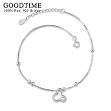 Silver Anklets Jewelry For Women 925 Sterling Silver Cartoon Mickey Anklet Silver 925 Jewelry Simple Style ankle bracelet(China)