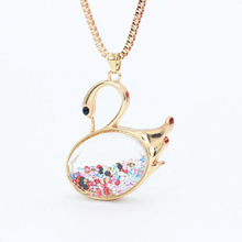 Champagne Gold Color 70cm Long Swan Necklace Pendants Korea Trendy Fashion Jewelry Austrian Crystal Sweater Chain Necklace