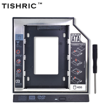 "TISHRIC Universal Aluminum Plastic for Laptop CD-ROM 7-12.5mm 2.5""SSD 2nd HDD Caddy 12.7mm SATA3.0 Hard Drive Case Enclosure"