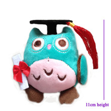 12 pcs/lot, 2014 blasting with graduation wisdom owl plush toys cotton lovely graduation gifts ,stuffed owl free shipping!
