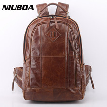 NIUBOA Genuine Leather Backpack Men High Quality Leather Travel Backpacks Man Vintage Big Casual School Shoulder Bags Rucksack