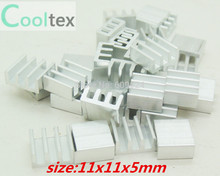 50pcs  Extruded Aluminum heatsink 11x11x5mm , Chip CPU  GPU VGA  RAM LED  IC radiator, COOLER