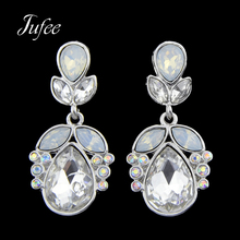Jufee Trendy Fashion Silver Color Drop Earrings Water Drop Pattern With Full Rhinestone For Women Accessories Jewelery