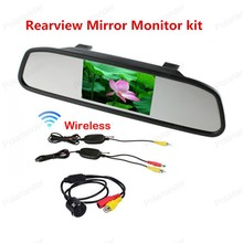 Reverse parking camera wireless transmitter receiver + 4.3 inch Rearview Mirror Monitor kit for Car Rear reversing backup(China)
