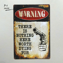 "DL-WARNING ""there is nothing here"" Metal sign wall Decor Garage Shop Bar living room wall art poster(China)"