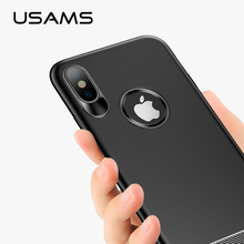 USAMS Transparent TPU Case For iPhone X with Elastic Button Ultra Thin Soft Silicon Cover For iPhone Case Crystal Clear Silicon(China)