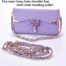 New Luxury Shoulder Bags For iPhone 7 7 Plus 5.5 Lattice Pattern Elegant Women Wallet Leather Metal Chain Jewelry Phone Case(China)