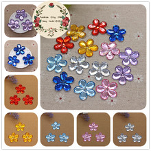 50pcs 22mm Plum Blosso Flower Shape Acrylic Rhinestone DIY Flatback Decorative Craft Scrapbooking Accessories(China)