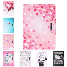 Painted Flip PU Leather Case For Apple iPad Pro 9.7 inch Back Covers Fundas Flowers smart Card Slots wallet tablet Shell Housing(China)
