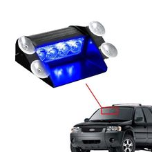 CYAN SOIL BAY Blue 4 LED Car Emergency Warning Dashboard Dash Visor Police Strobe Lights 4LED Lamp(China)
