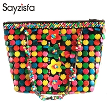 Sayzisfa 2017 Brand New Women Crafts bags Handmade natural coconut shells Bag ladies shoulder bags Large capacity Weave bag T407