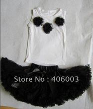 3set/lot free shipping black baby girls pettiskirt dress