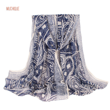 Muchique Paisley Scarf Navy Women's Oversized Big Scarves Printed Long Shawl Latest Scarf High Fashion