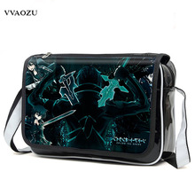 New Fashion Sword Art Online Cosplay Bag SAO Kirigaya Kazuto Anime Shoulder Bag PU Waterproof Travel Messenger Bags