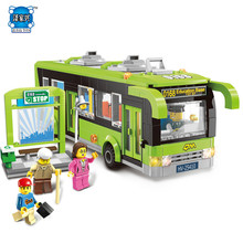 Enlighten 1121 City Bus Station Bricks Toys 418PCS Building Block Sets Figures Toys Compatible Legoing