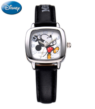 Luxury Brand Square Disney Brands Children's Wristwatch Boys Girls Mickey Waterproof Quartz Watch Leather Kids Clock Relogio(China)