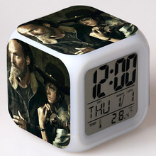 TV Action Figure The Walking Dead 7 Color Flash Changing Touch Light Desk Clock Movie Figurines Toys