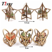 3Sets Creative 3D Star&Heart Christmas Wooden Pendants Ornaments DIY Party Decorations Xmas Tree Kids Gift - Wedding & Home Decoration Supplies Store store