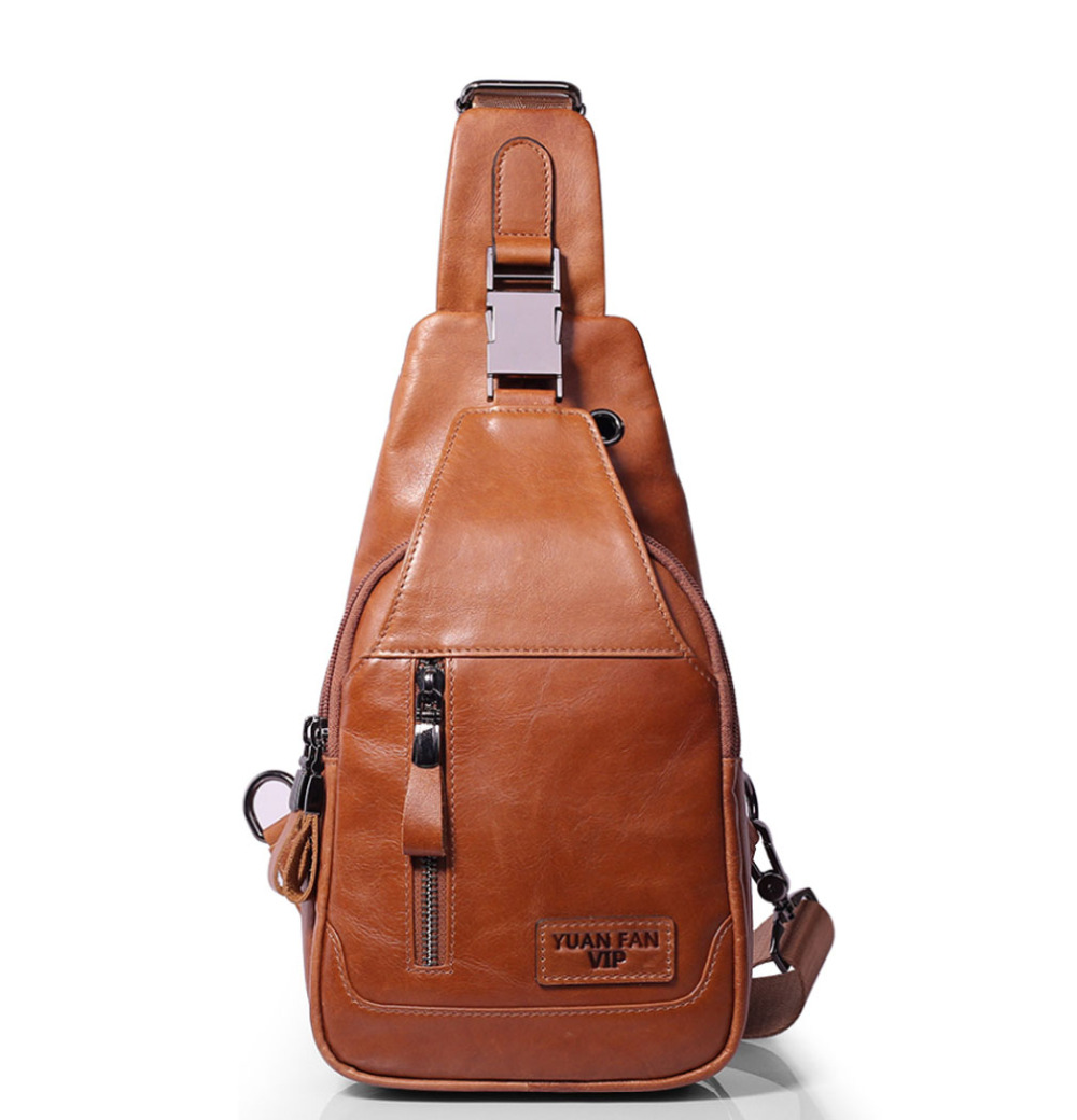 2018 New Men Genuine Leather Skin Messenger Shoulder Cross Body Bag Travel Male Sling Chest Day Pack High Quality<br>