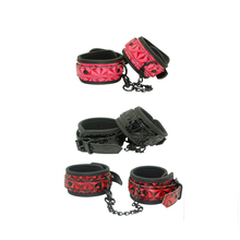 Buy Black Red Leather Sex Wrist Cuffs Adult Game Wrist Cuffs SM Tool Couples Game Restraint Chain Sexual Pleasure