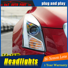 A&T Car Styling For Cadillac ATS headlights 2014-17 For ATS LED head lamp Angel eye led DRL front light Bi-Xenon Lens xenon HID