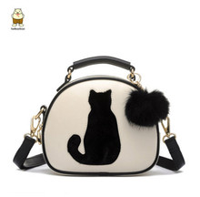 Buy New Cute Cat Messenger Bags Girls Circle Black Leather Handbag Fashion Women Fur Ball Crossbody Shoulder Bag Small Flap bolso for $14.98 in AliExpress store