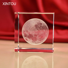 XINTOU Crystal Glass Cube Moon Paperweight Solar System 3D Laser Engraved Figurine Home Office Desk Decoration Ornaments Crafts