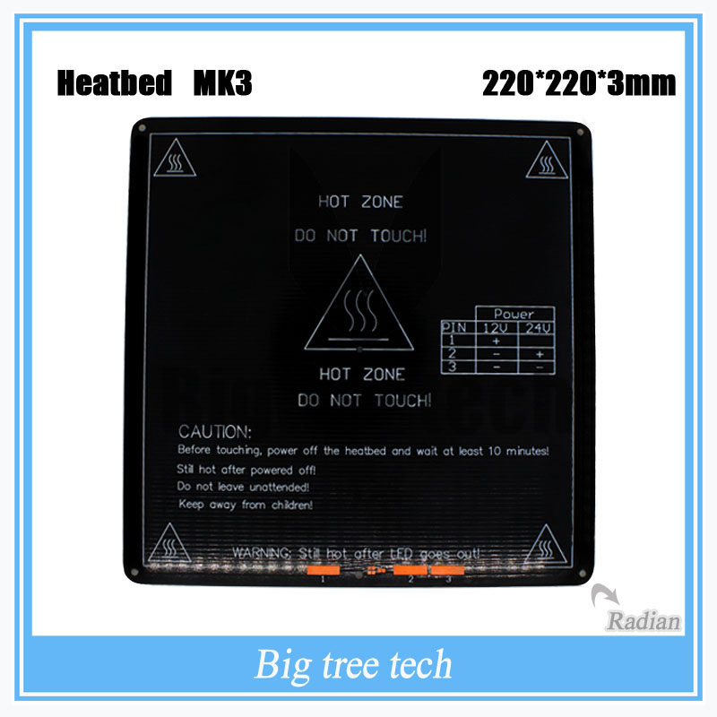 2017 NEW Best selling products Innovative MK3 Aluminium heatbed for 3d printer 220*220*3mm with Radian corners<br><br>Aliexpress