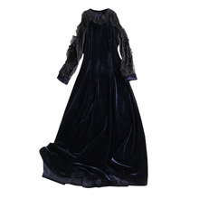 2017 European Women's New High Quality Lace Sleeve Velvet Elegant Navy Blue Dresses(China)