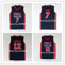 Ne'w #7 larry bird #11 Karl Malone #12 John Stockton #15 Magic Johnson 10 Clyde Drexler Team USA Basketball Jersey Stitched(China)