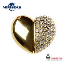 2016 Miniseas Usb Flash Drive Heart Jewelry Crystal Diamond Pendrive 4GB 8GB Pen Drive 16GB 32GB 64GB Memory USB stick 2.0
