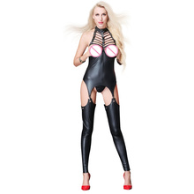 Buy Plus Size Sexy Novelty Women Black Latex Catsuit Open Crotch Chest Hollow Bodysuit Pole Dance Night Clubwear Erotic Catsuit