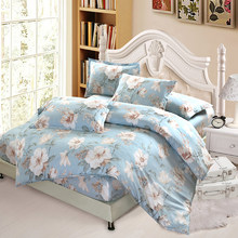 Flower Bedding Sets 100% Cotton Bed fitted Sheets Bedclothes Duvet Cover sets Home Textile Full/Queen king Size Free Shipping(China)
