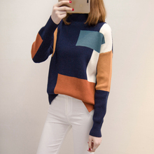New Fashion Female Contrast Color Knitted Sweater Coat Loose Half Turtleneck Ladies Casual Pullover Jumper Students Jersey Hot(China)