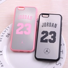 Luxury Pink Black Mirror Michael Jordan 23 Chicago Soft Phone Case Coque Fundas Cover For iPhone 6 6S 6Plus 7 7Plus 5 5S SE