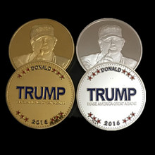 Buy 2 pcs brand new USA President candidate Donald Trump 24K gold silver plated souvenir coin for $6.79 in AliExpress store