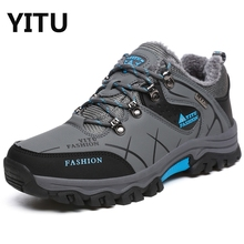 Plus Size 39-47 Men Mid Hiking Boots Lace-Up Fur Lined Winter Men's Waterproof Non-Slip Ankle Boots Mountain Climbing Shoes