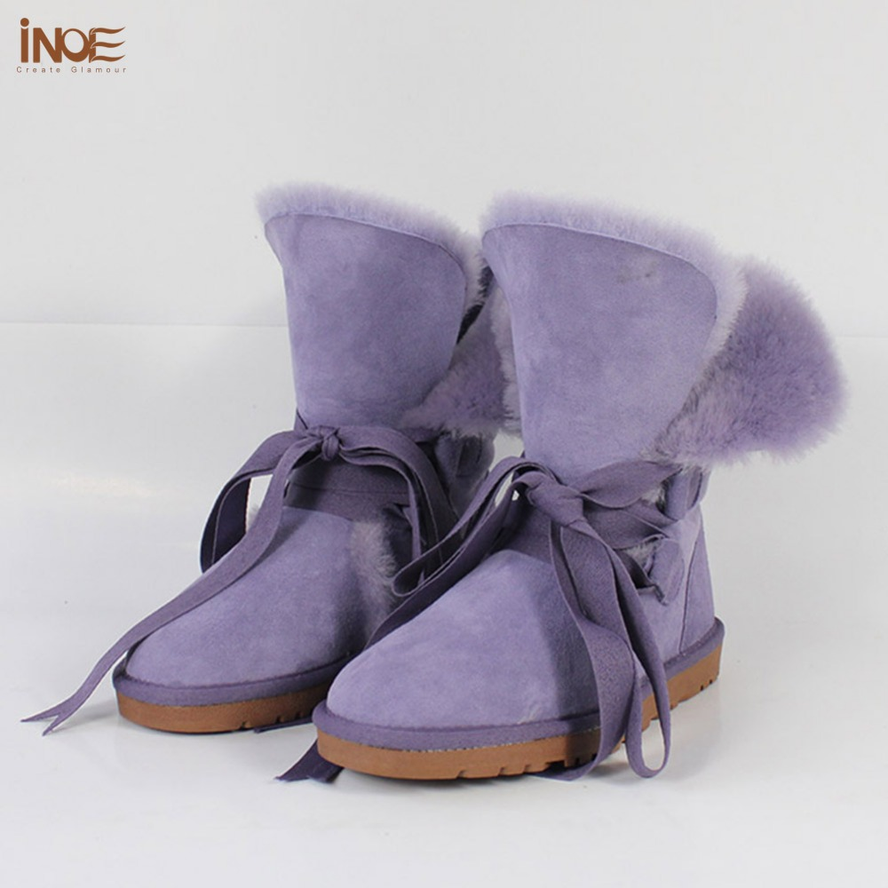 Real sheepskin leather lace-up fashion short snow boots for women nature fur winter shoes for girl high quality free shipping<br><br>Aliexpress