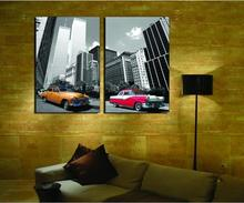 Canvas Painting Wholesale 2pcs Modular Picture The Prosperous Building The Car The Sittingroom Decorative Spray Painting(China)